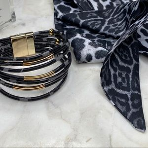 2pc Cheetah Print Bracelet + Twilly Scarf Set